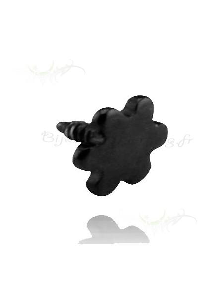 Accessoire de piercing acier noir petite fleur
