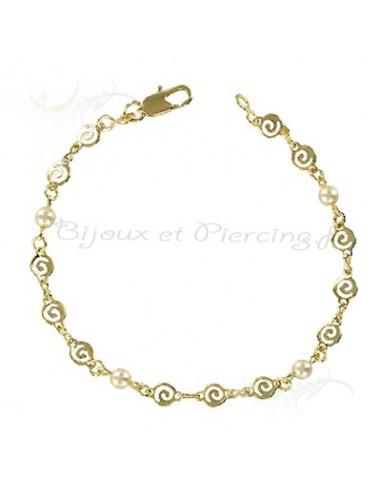 Bracelet plaqué or et perles nacrées