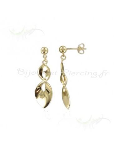 Boucles d'oreilles pendantes feuilles argent.