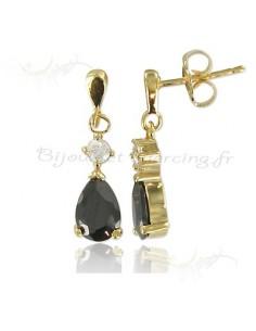 Boucles d'oreilles plaqué or ornée d'une gem noire