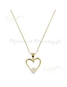 Collier plaqué or - pendentif en coeur et zircon