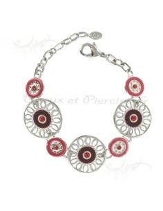 Bracelet fantaisie rouge et argenté