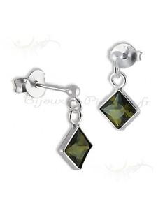 Boucles d'oreilles pendantes en argent et cristal