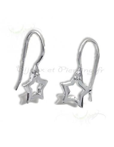 Boucles d'oreille argent étoile pendantes