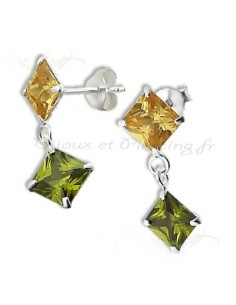 Boucles d'oreilles pendantes colorées en argent