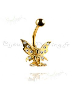 Piercing papillon plaqué or