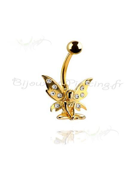Piercing papillon plaqué or