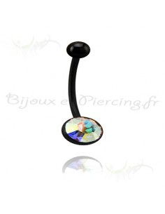 Piercing nombril Blacksteel et cristal ball