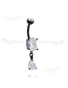 Piercing nombril cristal blacksteel