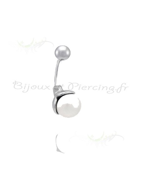 Piercing nombril perle et rhodium