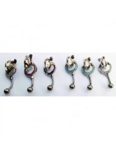 Piercing nombril pendentif dauphin decorer de strass