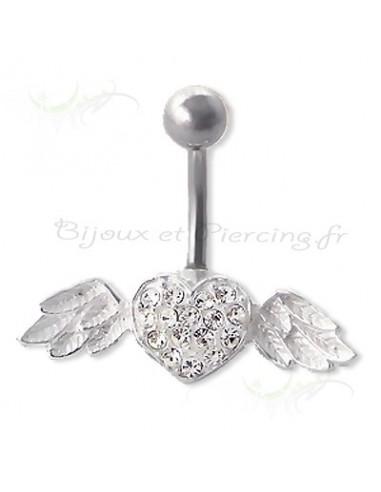 Piercing nombril coeur avec ses ailes