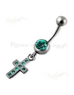 Body piercing pendentif strass et croix
