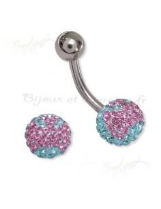 Piercing cristaux de swaroski nombril