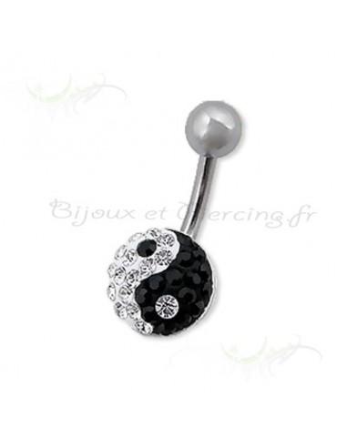 Piercing nombril cristal yin et yang