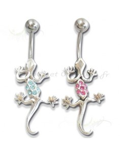 Piercing nombril pendentif lezard ondulant avec gem couleur