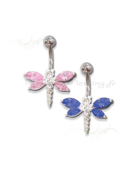Piercing nombril papillon royal de couleur