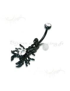 Piercing de nombril scorpion acier-noir zircon et strass
