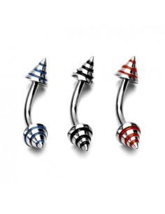 Piercing arcade pointe coloré de trois couleur en acier