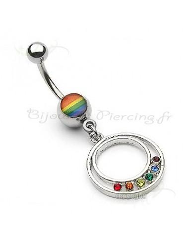 Piercing nombril couleur gay pride
