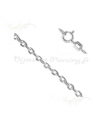Bijoux argent chaine maille forcat de 40 cm