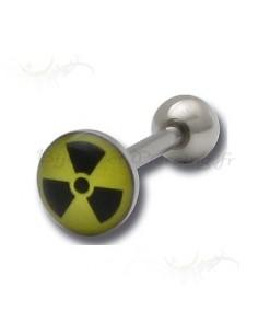 Piercing langue logo radioactif