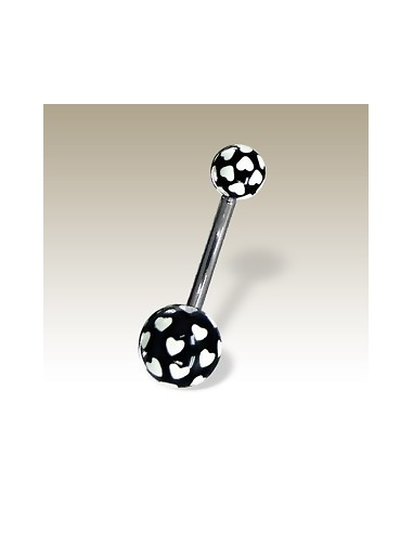 Piercing ball nombril peit coeur fluo