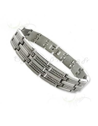 Bracelet homme acier gravé