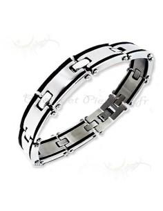Bracelet homme maillons acier et acrylique