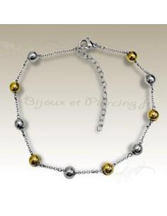 Bracelet maille boule plaqué or
