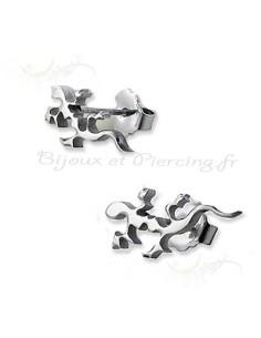 Bijoux d'oreilles salamandre acier