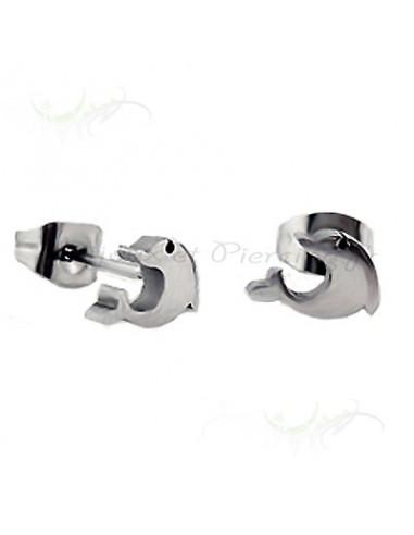 Boucles d'oreilles dauphin d'acier