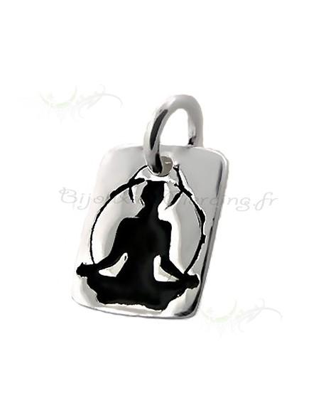 Plaque pendentif - Yoga argent
