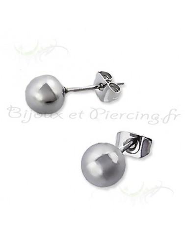 Boucles oreilles acier - perle grise 6 mm