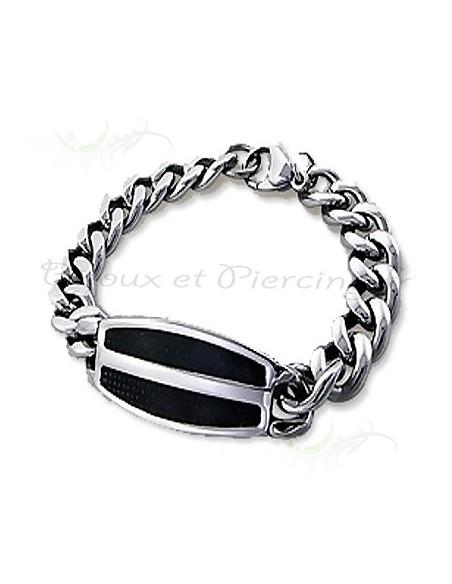 Bracelet acier maillon et plaque deux couleurs