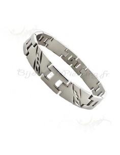 Bracelet acier composé de plaques acier inoxydable