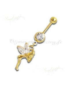 Piercing nombril fée scintillante plaqué or