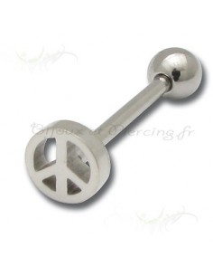 Piercing barbell langue peace and love