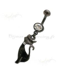 Chat noir - bijoux pendentif de nombril