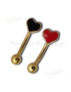 Piercing arcade acier doré coeur