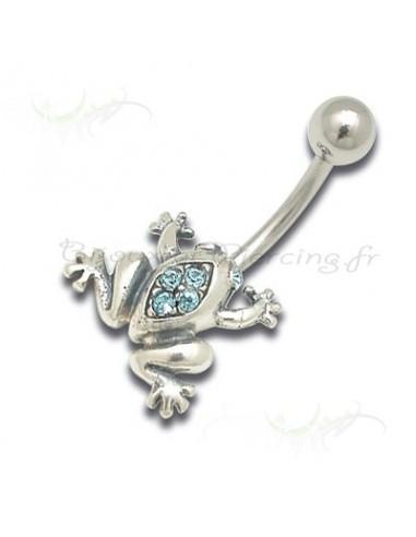Piercing nombril Grenouille argent et cristal