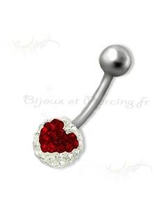 Piercing nombril cristal petit coeur