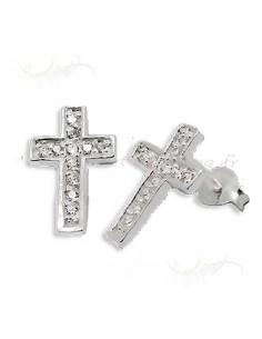 Crucifix en argent et strass