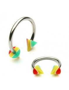 Piercing circulaire Striped Spikes multicolor facon rasta