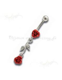 Piercing nombril pendentif rose rouge