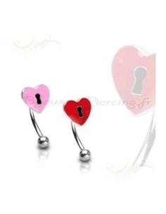 Piercing arcade tige courbé avec petit coeur