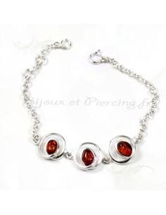 Bracelet femme escargot en argent ornée de perles d'ambre