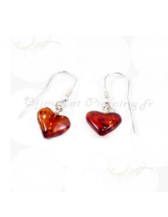 Boucles d'oreilles coeur en ambre et argent