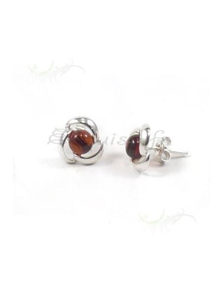 Boucles d'oreilles - perles d'ambre cerclées d'argent