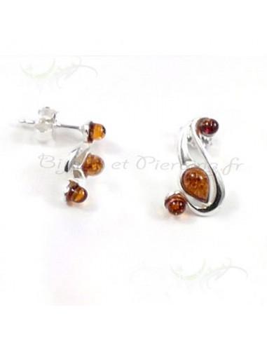 """Boucles d'oreilles """"feuilles"""" ambre et argent"""
